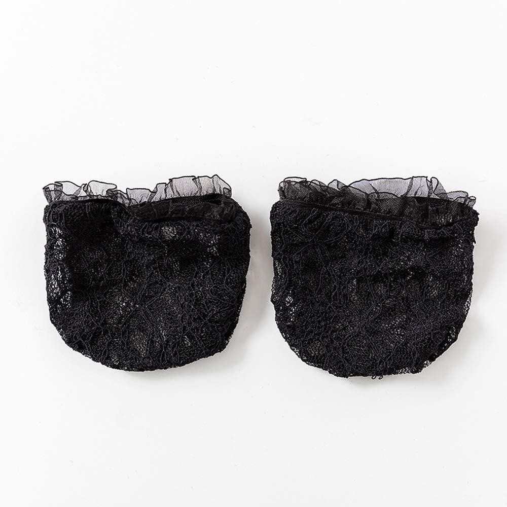 Mxue Toe Topper Socks Lace Net Invisible Half Foot Socks Toe Liner Half Socks Seamless Non-Slip Toe Half Socks for Woman(Black)