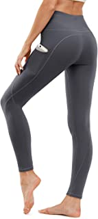 High Waist Yoga Pants, Yoga Pants with Pockets Tummy Control Workout Pants 4 Way Stretch Pocket Leggings