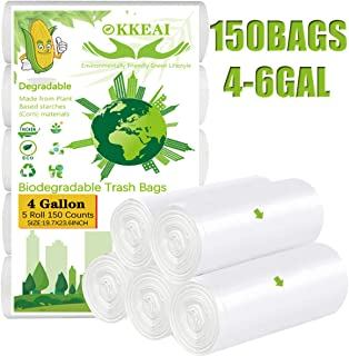 OKKEAI Trash Bags Biodegradable Can Liners Garbage Bags 4 Gallon Clear,Bathroom Trash Bin Liners,Small Wastebasket for Office Kitchen,White,150 Counts(Fits 4-6 Gallon Bins)