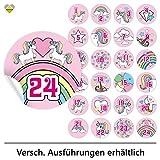 cute-head 24 Adventskalender-Zahlen (Aufkleber Etiketten Sticker) | Einhorn/Unicorn | Rund | M » Ø...