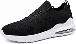 XUJW-Shoes, Athletic Shoes for Men Outdoor Running Breathable Mesh Upper Comfortable Soft Knit Lace Up Durable Travel Driving Anti-Slip Flat Round Toe (Color : Black, Size : 7 UK)