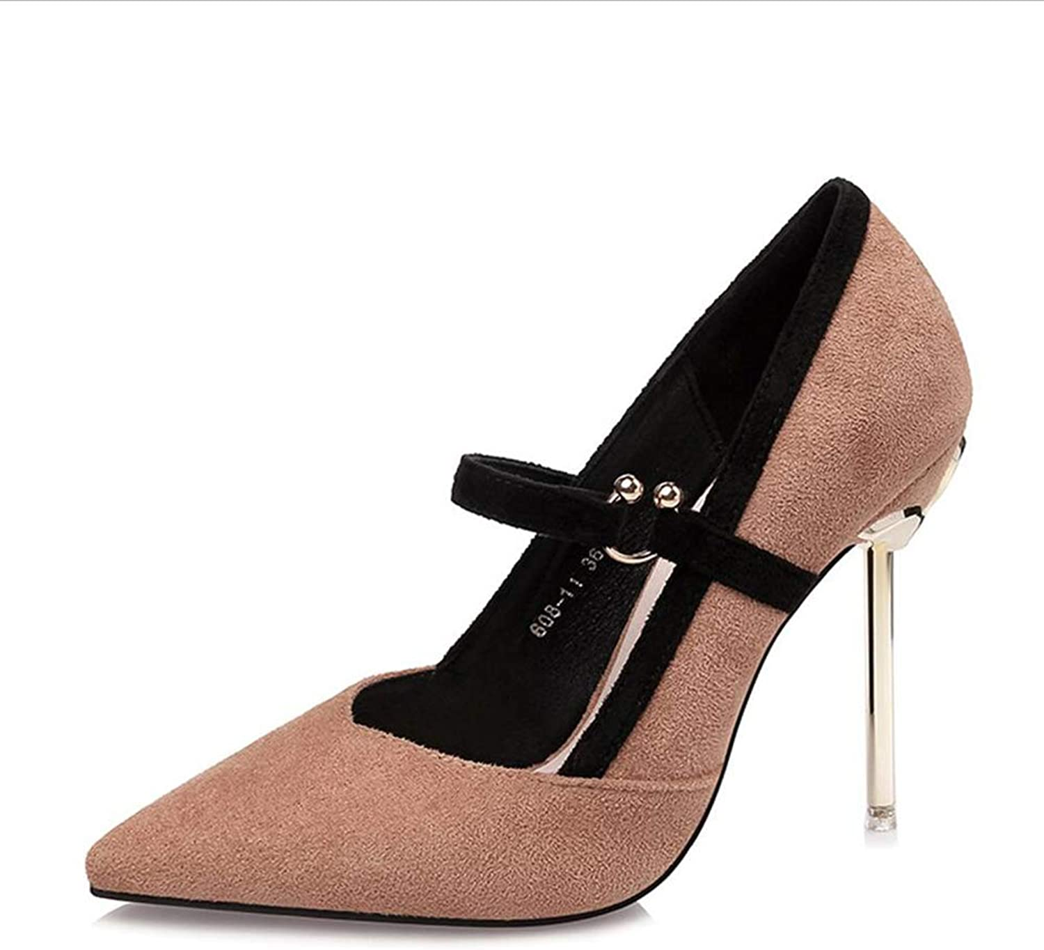 Court shoes Women's shoes shoes High Heel Shallow Mouth Pointed Nightclubs Sexy Suede Metal Fine Heel Woman Single Haiming (color   Khaki, Size   36)