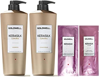 Goldwell Kerasilk Control set con shampoo da 1 l + balsamo da 1 l + 2 Kerasilk Color (etichetta in lingua italiana non gar...