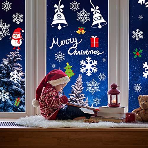AmzKoi 160 Fensterbilder Selbstklebend, 6 Blätter Schneeflocken Fenstersticker Winter Deko Weihnachtsdeko, Fensterbilder Schneeflocken Wiederverwendbar