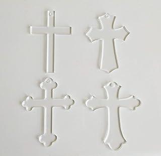"20PCS Blank Clear Acrylic Cross Keychains,Clear Plexiglass Laser Cut Gifts, Cross Halloween Tags Save Date (Mix Shape, 2.5"")"