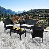 Walsunny 4 Pieces Outdoor Patio Furniture Sets Rattan Chair Wicker Set,Outdoor Indoor Use Backyard Porch Garden Poolside Balcony Furniture (Black)