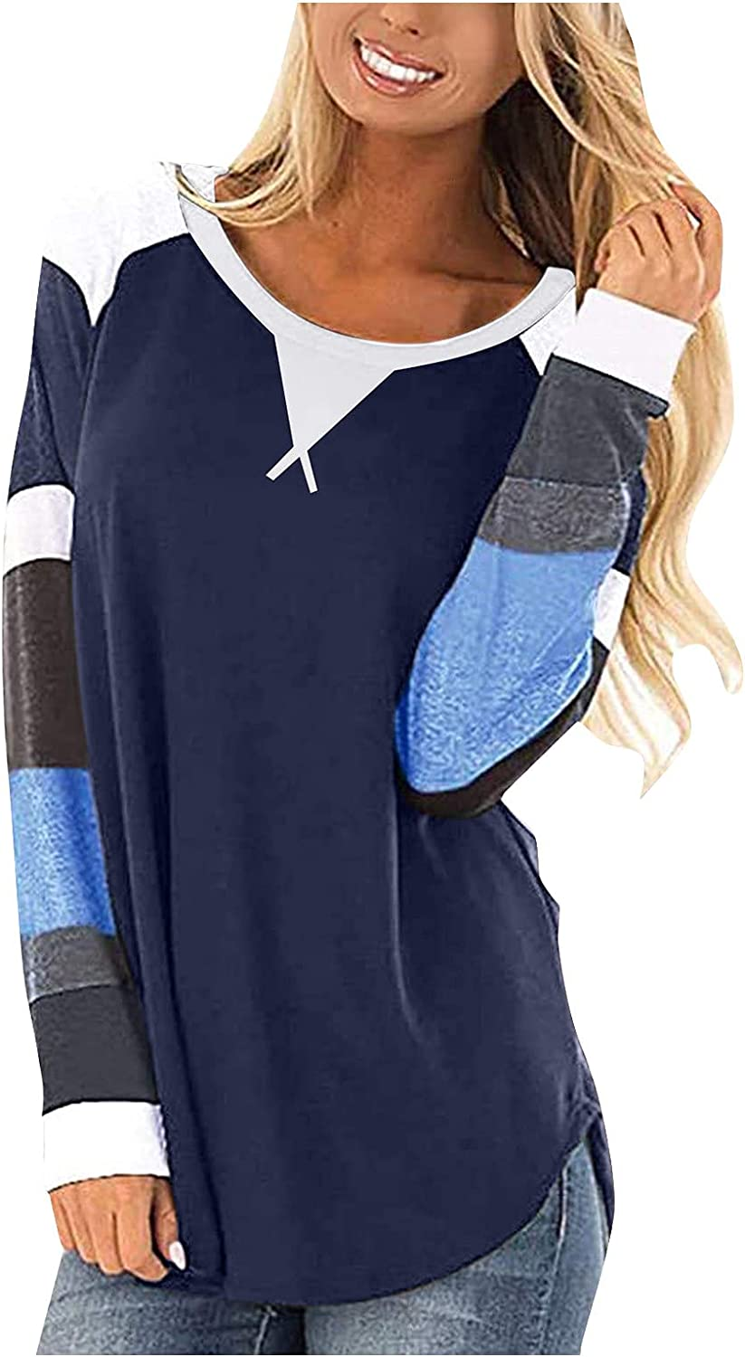 ONHUON Long Sleeve Blouses for Women Casual, Womens Color Block Round Neck Sweatshirts Tops Casual Top Shirts Blouse