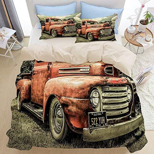 227 Juego de funda de edredón para cama doble, coche antiguo personalizado vintage, camión, dormitorio, 3 piezas, edredón de microfibra de plumón, cierre de cremallera con 2 fundas de almohada