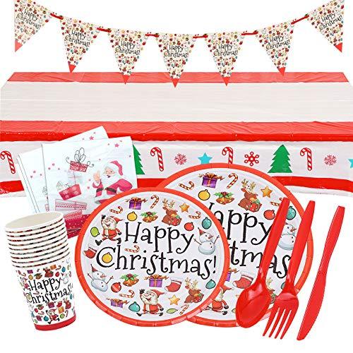 Gxhong Stoviglie Natalizie Feste Set Piatti di Carta Tazze Tovaglioli Tovaglia Compleanno Forniture Feste per Natalizie Decorazioni 82 Pezzi