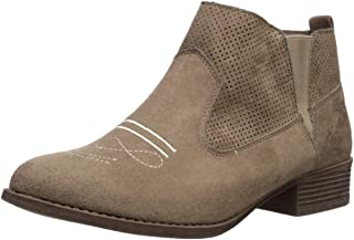 Rampage Women's Sachia Perforated Double Gore Low Heel Ankle Bootie Boot