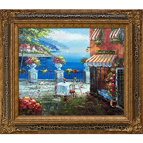 """La Pastiche Cafe Italy with Black Crackle King Framed Oil Painting, 32"""" x 28"""", Multi-Color"""