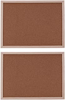 SUPVOX Bulletin Board Cork, Quartet Corkboard Picture Board Wood Board (2Pcs)