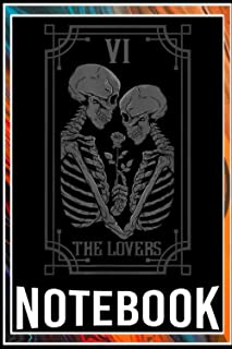 Notebook: The Lovers Tarot Card Occult Goth Halloween Gothic notebook 6x9 inch by Dali Bunn