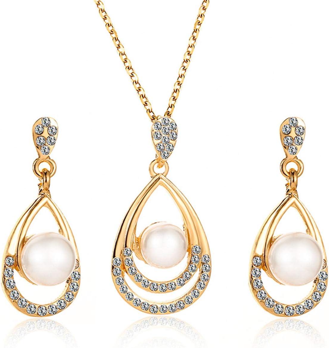 ZALING Gorgeous Rhinestone Faux Pearl Waterdrop Pendant Necklace Dangle Earrings Set Wedding Jewelry Set for Women(Gold Color)