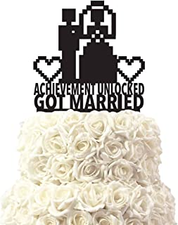 Funlaugh For Gamers Achievement Unlocked Wedding Cake Toppers Mr Mrs Bride and Groom Silhouette Wedding Decoration Gifts