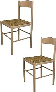 Tommychairs - Set 2 sillas Pisa 38 para Cocina y Comedor, Estructura en Madera de Haya lijada, no tratada, 100% Natural y Asiento en Paja