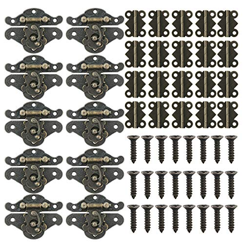 10pcs Retro Design Decorativo Armadio Gioielli Scatola In Legno Antico Fermo Hasps con 20pcs Grande Farfalla A Forma di Cerniere con 140 Viti