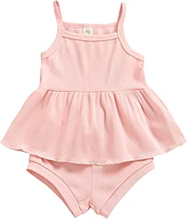 2PCS Newborn Baby Girls Summer Outfit Ruffle Slip Dress Top Strap Sleeveless Shirt + Shorts Ribbed Clothes Set