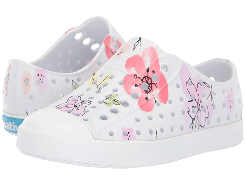 Native Kids Shoes Jefferson Print (Toddler/Little Kid) (Shell White/Shell White/Blossom Paint) Girls Shoes