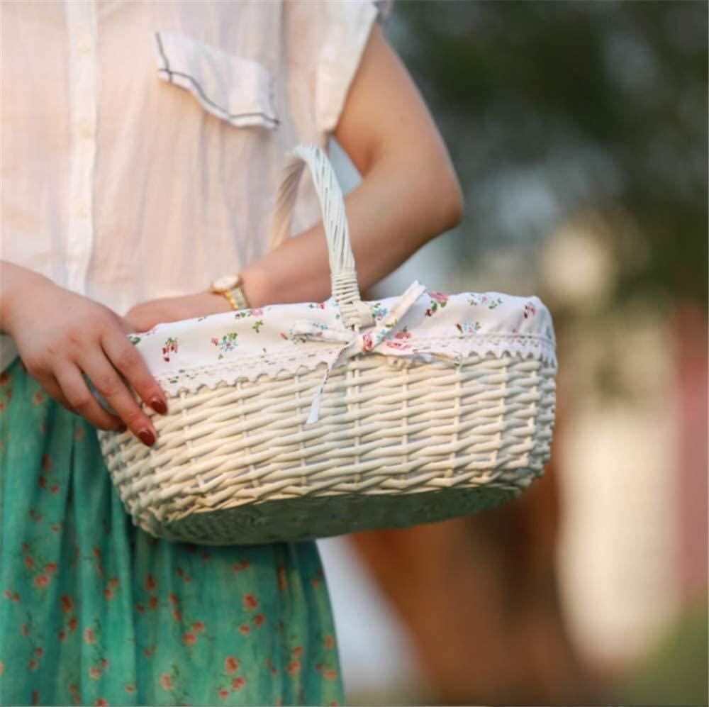 Yadianna White Picnic Basket Rattan Picking Baby Gifts C Spring new work Clothes Genuine