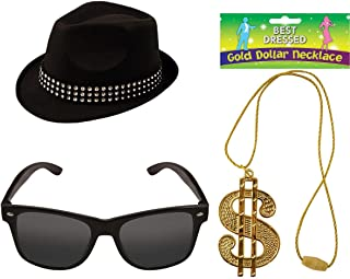 Mens Trilby Hat Glasses Fancy Party Accessory Adults Dollar Necklace Party Sets On Size