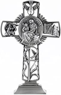 Pewter Catholic Saint St Anne Pray for Us Standing Cross, 6 Inch