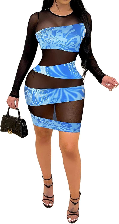 Uni Clau Women's Sexy Sheer Mesh Patckwork Dress Long Sleeve Printed Slim Bodycon See Through Dress Skinny Nightclub Dress