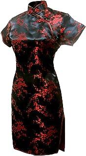 فستان سهرة صيني قصير من 7Fairy Women's Black &Red Floral من Cheongsam