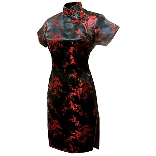 9ab1719e9509 7Fairy Women's Black&Red Floral Mini Chinese Evening Dress Cheongsam