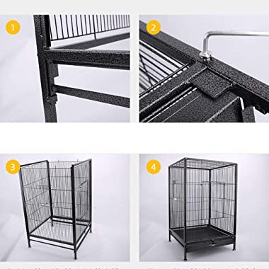 FEIYIYANG Bird Cage 75cm Large Parrot Bird Cage for Cockatiel Lovebird Birdcage Durable Frame Black Metal Travel Bird Cage Pe