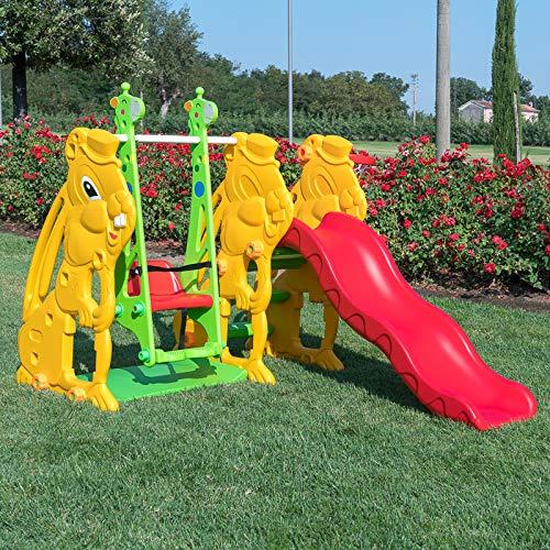 Generico Scivolo in plastica per Bambini Coniglio con Canestro e Altalena Giraffa Gioco da Interno ed Esterno