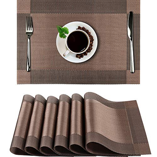Placemats Set of 6, SIHOHAN Woven Vinyl Non-slip Insulation Table Placemat Washable Placemats for Dining Table Set of 6(Brown)