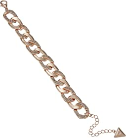 "Chain Link Bracelet with Pave Accents 7.5"" with 2"" Extender"