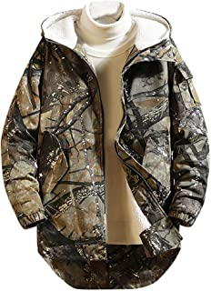 FONMA Men Winter Mid-Length Printing Velvet Thickened Hoodie Cotton-Padded Jacket Coat