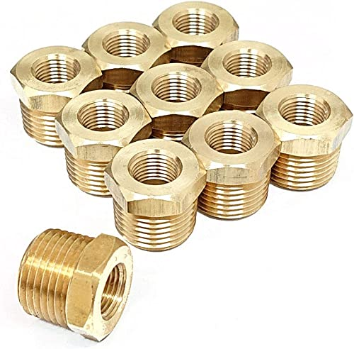 "Tanya Hardware 3/8"" NPT Male x 1/8"" NPT Female Brass Reducer Hex Bushing - 10 Piece"