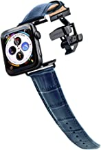 Longvadon Men's Watch Band - Compatible with Apple Watch Series 1, 2, 3 (42mm) & Series 4 (44mm) - Genuine Top Grain Leather - Caiman Series, Navy Blue with Black Details