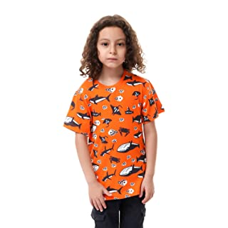 Andora Contrast Front Print Short Sleeves Cotton T-Shirt for Boys