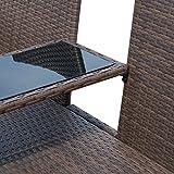 Outsunny Polyrattan Gartenbank Gartensofa Sitzbank mit Tisch 2-Sitzer - 6