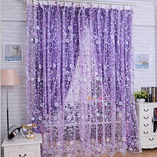 DDLBiz Print Floral Voile Door Sheer Window Curtains Room Curtain Divider(39.37