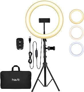 havit Ringlicht statief met 3 kleuren modus en 10 helderheid, 12 inch led-ringlamp met verstelbare telefoonhouder / Blueto...