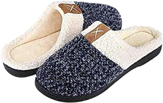 BaronHong Men's Cozy Memory Foam Slippers with Fuzzy Plush Wool-Like Lining,Slip on Clog House Shoes with Indoor Outdoor A...