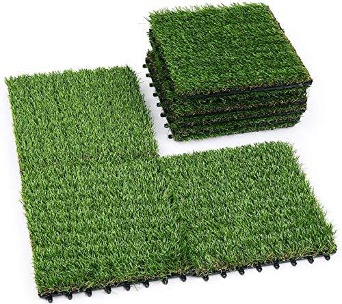 uyoyous 人工芝パネル ジョイント式 人工芝マット 正方形 ベランダ 庭 18枚セット 30cm×30cm 芝丈 約2.5cm ベランダ リアル本物の芝生のようなリアルな見た目と質感(グリーン)