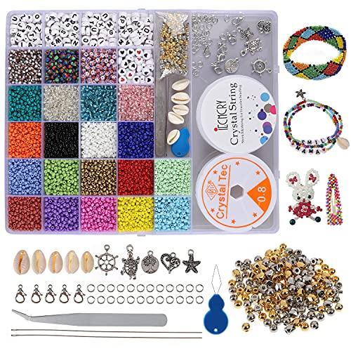 Olasfa 8270 Piezas Cuentas de Colores 3mm Cuentas de Vidrio Cristal Cuentas Abalorios Letras con...