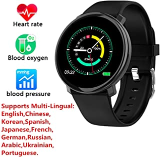 Businda 1.3 Inch Sport Fitness Tracker, Full Screen Touch Bracelet Heart Rate Monitor IP67 Watch Pedometer Calories Counter Health Tracker with Multi-Lingual for Kids,Girls,Boys(Black)