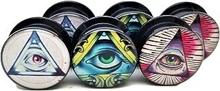3 Pairs! 3 Different Illuminati Pyramid & Eye Designs Ear Plugs - Acrylic Screw-On - New - 8 Sizes - 3 Pairs