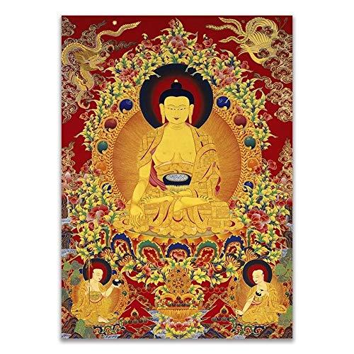 Thangka Thangka unieke boeddhisme traditionele realistische HD kunsten kopie canvas schilderij poster prints muur foto home decor gratis verzending (Color : A, Size (Inch) : 15x20cm No Frame)