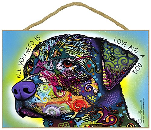 Dean Russo Rottweiler All You Need is Love and A Dog Wood Plaque Sign Dog Lover Gift
