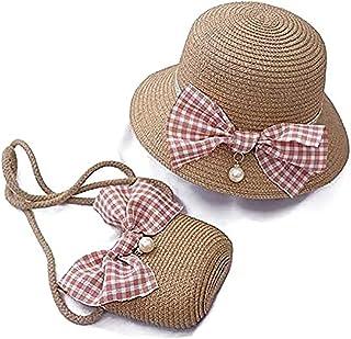 قبعات القش للبنات والأطفال قبعات شمس الصيف قبعات الشاطئ قبعات سترو المنسوجة جيب بدلة في الهواء الطلق كاكي