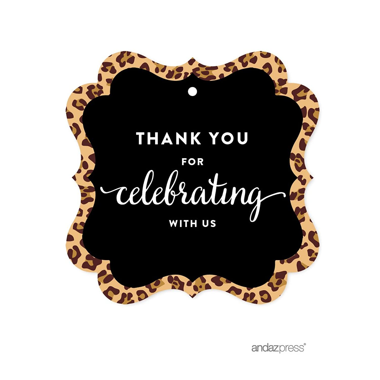 Andaz Press Birthday Fancy Frame Gift Tags, Thank You for Celebrating with Us, Leopard Cheetah Print, 24-Pack, for Gifts and Party Favors