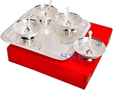 Beautiful Combo Gift Box Set (4 Bowl / 4 Spoon /1 Tray) Silver Plated Metal Figurine Indian Handmade Temple Decorative